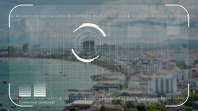 Digital-Sicherheitsbrummen, Kamera oder Hologrammscannentechnologieverschluß auf Küstenstadt im Geschäft und im Militärbeobachtun vektor abbildung