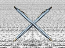 Digital signature. Two pens on a background of digits Stock Images
