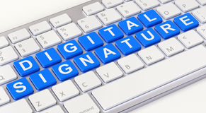 Digital signature concept. With computer keyboard - 3D illustration Royalty Free Stock Images