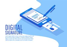 Digital signature. Creative people collection. Digital signature. Flat 3d web isometric contract signature infographic concept vector Stock Images