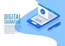 Digital signature. Creative people collection. Digital signature. Flat 3d web isometric contract signature infographic concept vector Stock Image