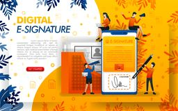 Digital signature for document security. E-signatures for business purposes and making agreements, concept vector ilustration. can vector illustration