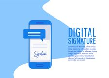 Digital signature. Creative people collection. Digital signature. Flat 3d web contract signature infographic concept vector Royalty Free Stock Photography