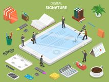 Digital signature flat isometric vector concept. Group of people are concluding a contract and signing it using digital tablet Stock Photo