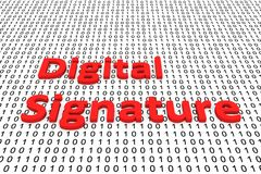 Digital Signature. In the form of binary code, 3D illustration Stock Images