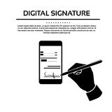 Digital Signature Smart Cell Phone Businessman. Black Hands Silhouette Sign Up Vector Illustration Stock Image