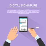 Digital Signature Smart Cell Phone Businessman. Hands Sign Up Flat Vector Illustration Royalty Free Stock Photos