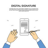 Digital Signature Smart Cell Phone Businessman Hands Sign Up. Vector Illustration Royalty Free Stock Image