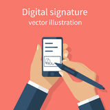 Digital signature on smartphone. Vector illustration flat design. Businessman hands holding a phone for signature. Modern technology business Stock Photos