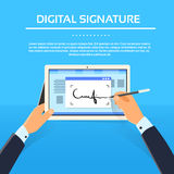 Digital Signature Tablet Computer Businessman. Hands Sign Up Flat Vector Illustration Royalty Free Stock Photo