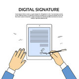 Digital Signature Tablet Computer Businessman Hands Sign Up Royalty Free Stock Photo