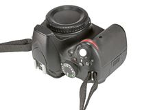 Digital single lens reflex camera. Isolated on white background Royalty Free Stock Photos