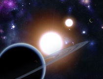 Digital skapad starfield med planeter Arkivfoton