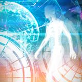 Digital Skeleton against composite image of global technology background in purple Royalty Free Stock Image