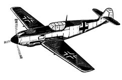 Digital sketch of World War 2 German aircraft. Royalty Free Stock Photos