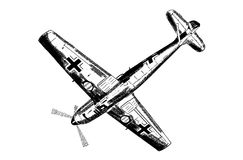 Digital sketch of World War 2 German aircraft. Stock Images