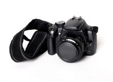Digital slr camera. With the strap royalty free stock photos