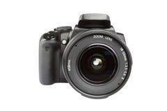 Digital slr camera. Black digital slr camera isolated on white royalty free stock photos
