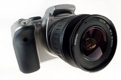 Digital SLR camera with attached zoom lens