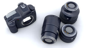 Digital SLR Camera Body and Lenses Stock Photography