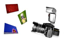 Digital SLR Camera with Flash Stock Image