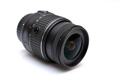Digital SLR camera lens close up on white Stock Images