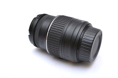 Digital SLR camera lens close up on white Stock Photos