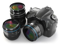 Digital slr camera with lens. Photography equipment. 3d Royalty Free Stock Photography