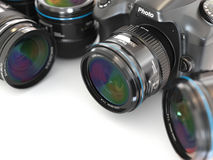 Digital slr camera with lens. Photography equipment. Royalty Free Stock Photography