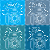 Digital SLR Camera Outline with Speech bubble. Vector Illustration of a Digital SLR Camera with speech bubble Royalty Free Stock Photography