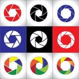 Digital SLR Camera Shutter set concept art. Digital SLR Camera Shutter set or Circular colorful pattern set - concept design vector illustration Stock Images