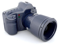 Digital SLR Camera with Telephoto Zoom Lense Royalty Free Stock Image