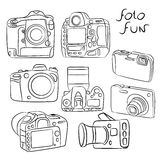Digital SLR cameras with different angles Set Royalty Free Stock Photos