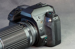 Digital SLR Closeup Against Gray Stock Image