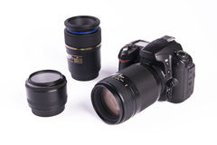 Digital SLR With Lenses. DSLR on white background, trademarks removed royalty free stock photos