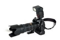 Digital SLR with long lens Stock Photography