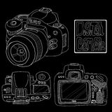 Digital SLR in sketch style Royalty Free Stock Image