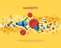 Digital smart medical nano robots concept objects. Color simple flat icon set collection, isolated healthcare, dna pills and implants infographics royalty free illustration