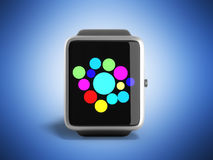 Digital smart watch or clock with icons 3d render on blue Stock Photo
