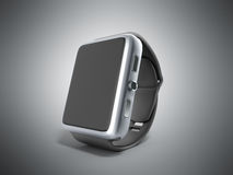 Digital smart watch or clock with icons 3d render on grey Royalty Free Stock Image