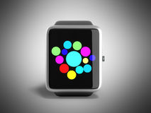 Digital smart watch or clock with icons 3d render on grey Royalty Free Stock Photography