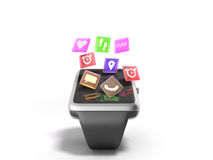 Digital smart watch or clock with icons 3d render on white Royalty Free Stock Photography