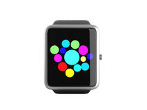 Digital smart watch or clock with icons 3d render on white no sh Royalty Free Stock Image
