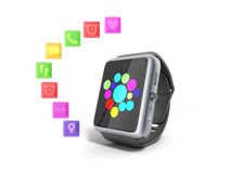 Digital smart watch or clock with icons 3d render on white no sh Royalty Free Stock Photo