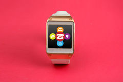 Digital Smart Watch with Contact Means Icons Pink Banner Stock Image