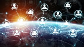 Digital social network on planet Earth 3D rendering. People connected to each other with social network over the globe 3D rendering elements of this image Stock Photo