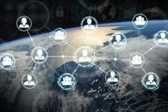 Digital social network on planet Earth 3D rendering. People connected to each other with social network over the globe 3D rendering elements of this image Royalty Free Stock Photos