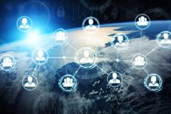 Digital social network on planet Earth 3D rendering. People connected to each other with social network over the globe 3D rendering elements of this image Royalty Free Stock Image