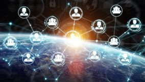 Digital social network on planet Earth 3D rendering. People connected to each other with social network over the globe 3D rendering elements of this image Stock Images