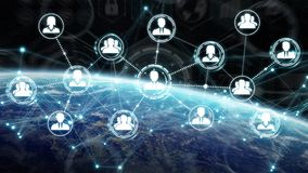 Digital social network on planet Earth 3D rendering. People connected to each other with social network over the globe 3D rendering elements of this image Stock Photography